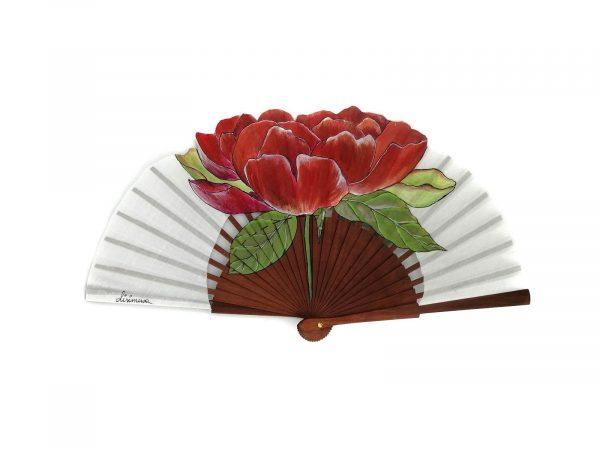 Abanico pintado hecho artesanalmente en España, varillas de madera de peral pulido y país de algodón. Pintado a mano. 23cm de varilla .