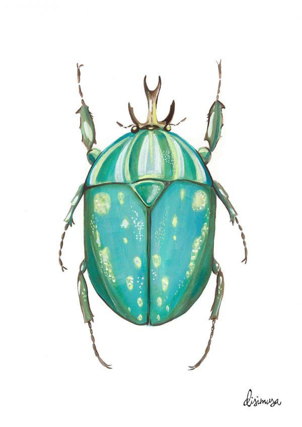 Ilustración Escarabajo Naranja Ilustración de la serie , ESCARABAJOS Impresión digital en papel crema de 200 g/m2 Tamaño A4.